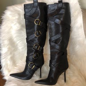 Shoes - Over the Knee brown leather boots